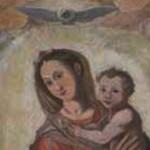 madonna con bambino e santi durante il restauro